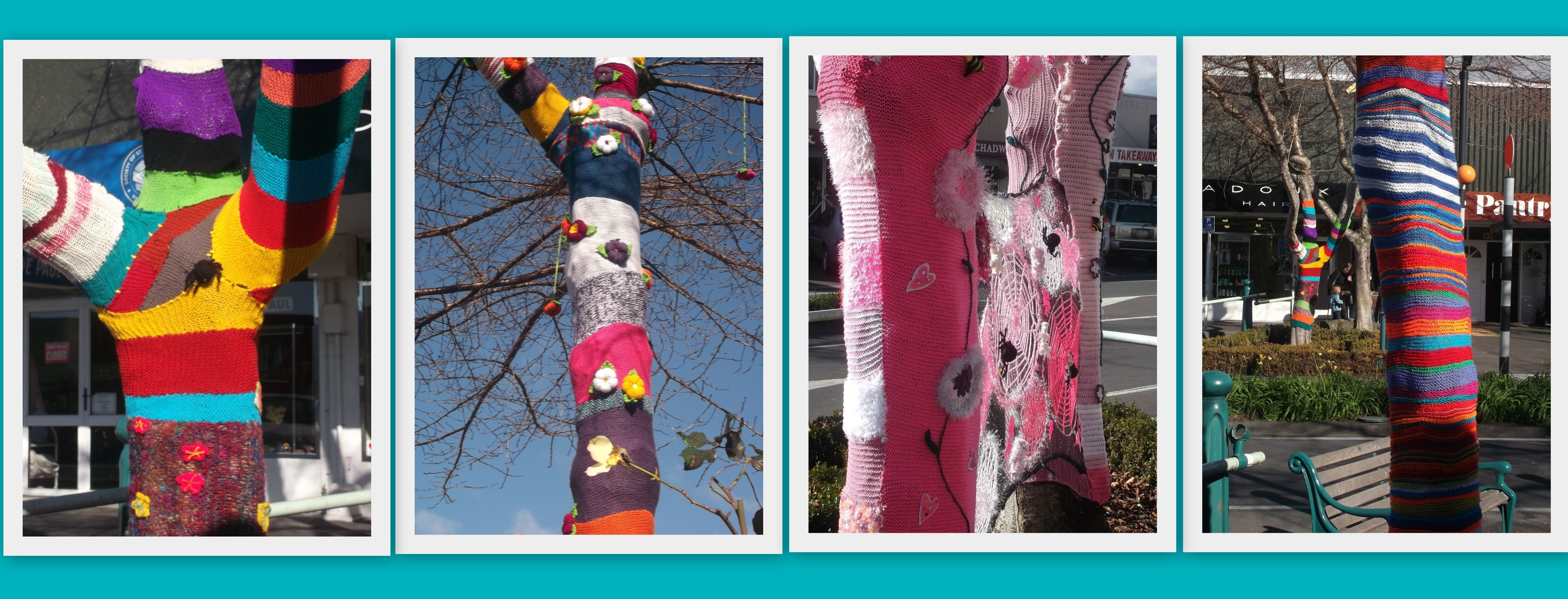 Greerton VIllage Yarn Bombed trees